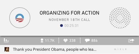 Mixlr Embeddable Player when Organizing for Action went live